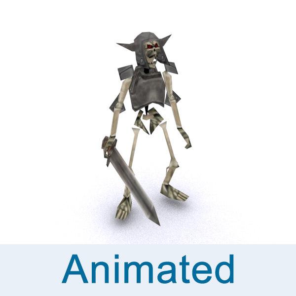 rigged skeleton warrior 3d model