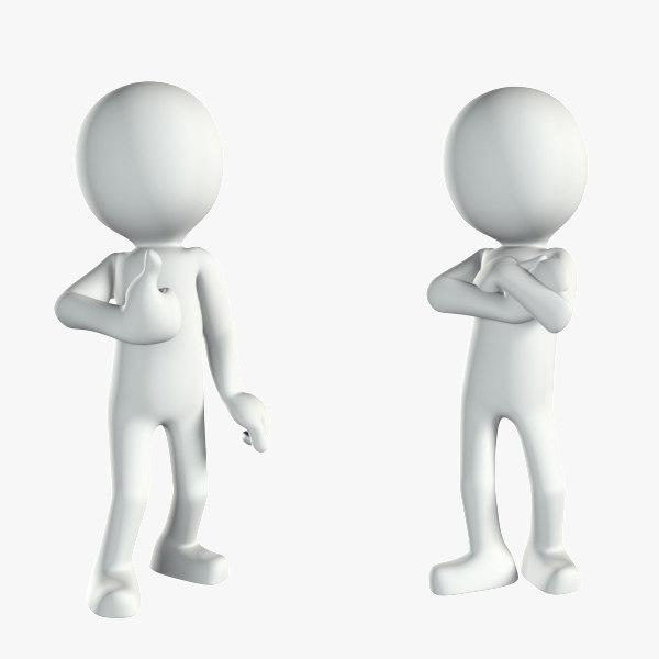 Character White Human Stickman 3d Model