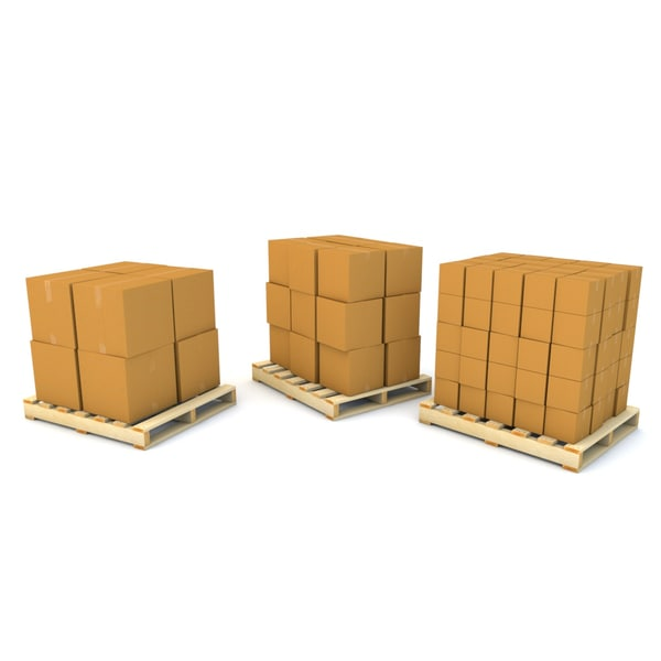 shipping palettes boxes obj