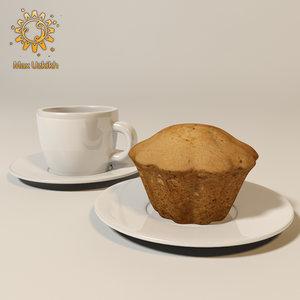cupcake cake coffee 3d obj