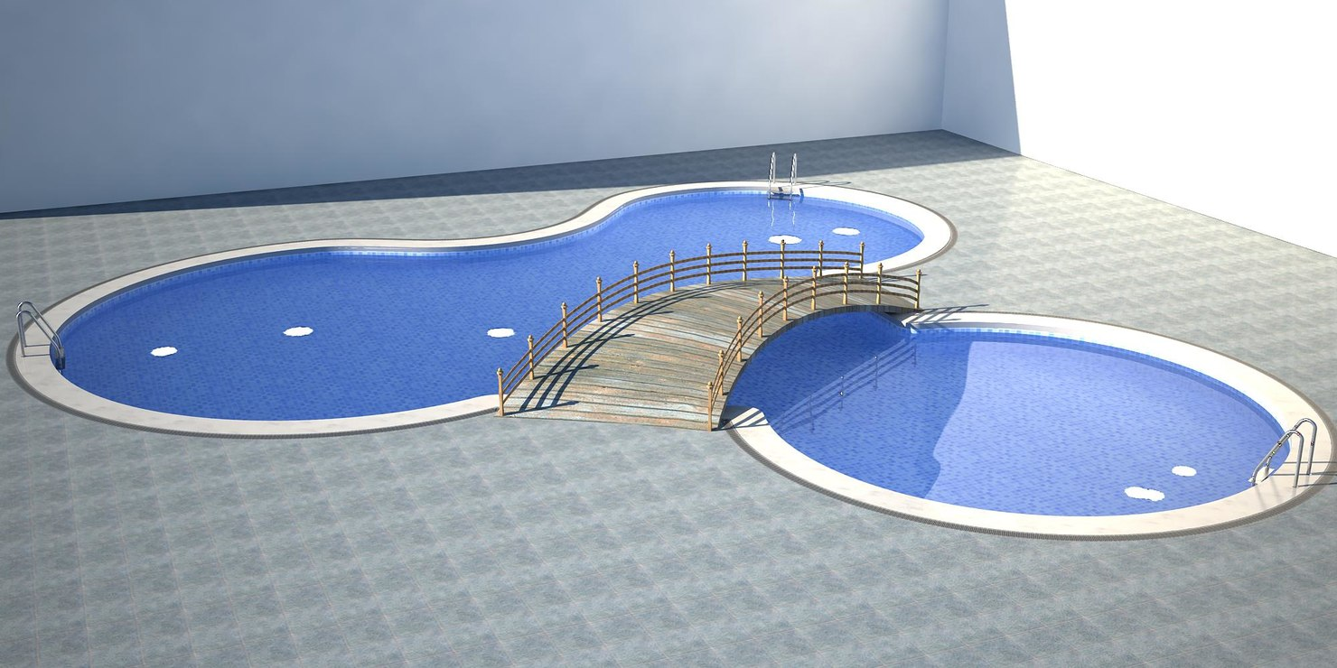 organic swimming pool 3d model