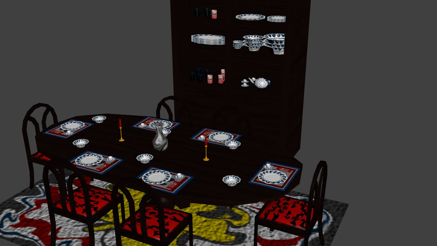 3d model ready set room table