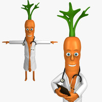 3d doctor carrot character