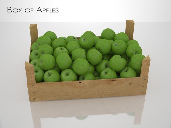 3d box apples model