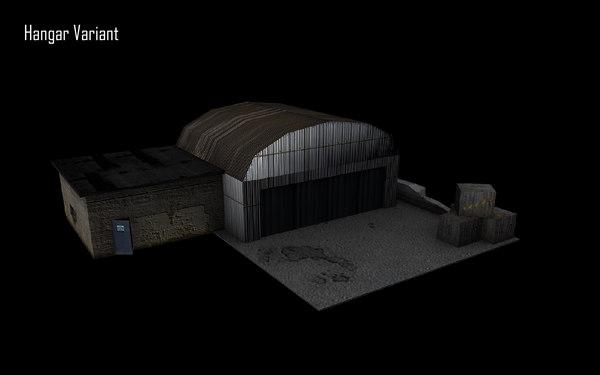 3d model small hangar office