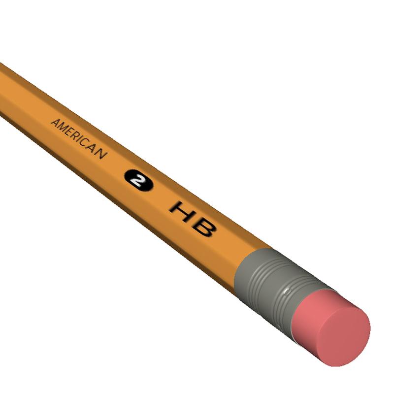 number pencil 3d model