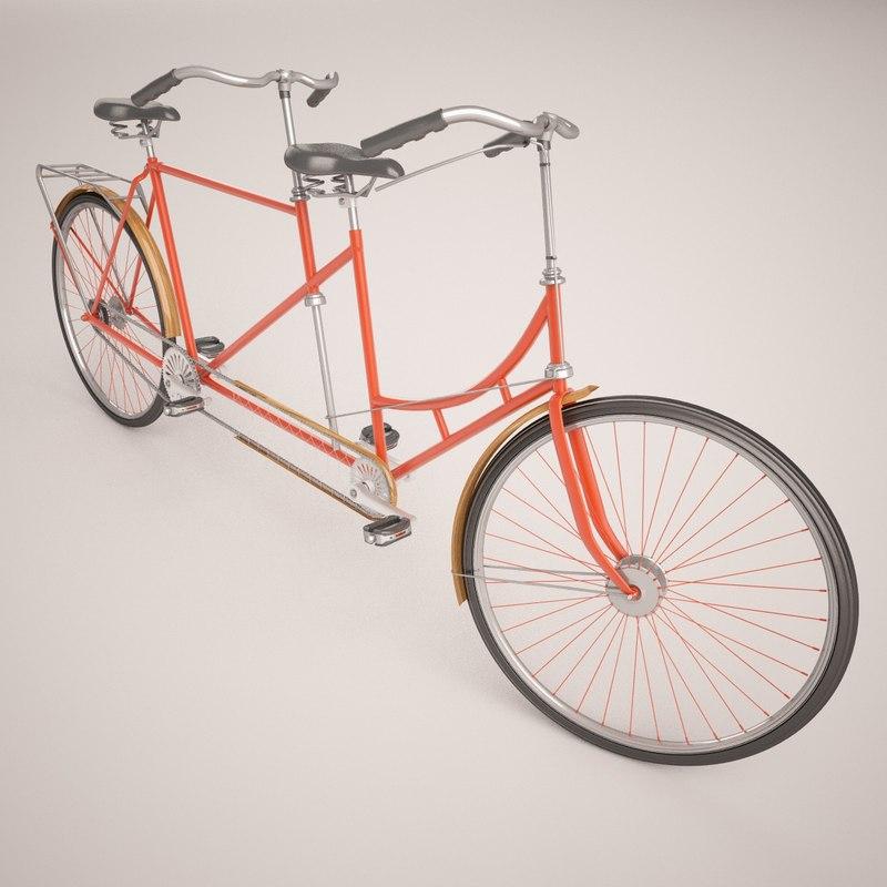 3d model of tandem bicycle