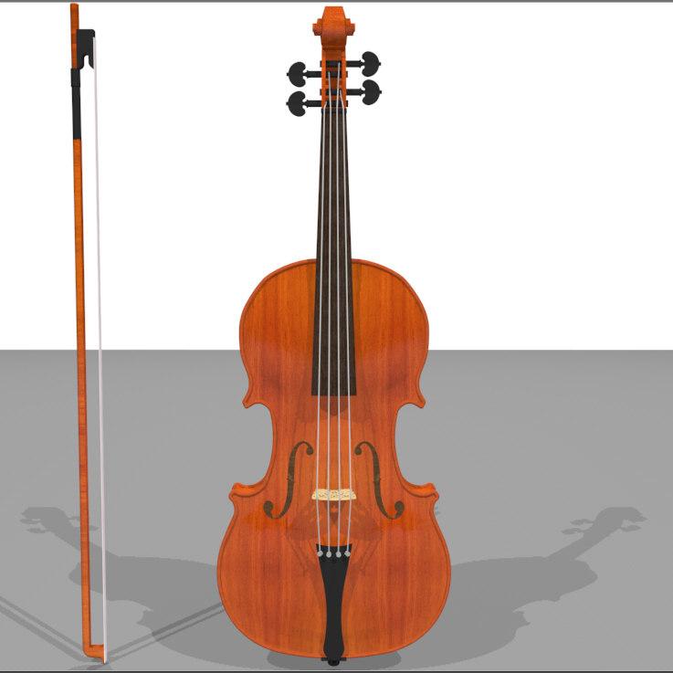 violin wood finish 3d c4d