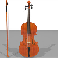 Violin and Bow: Traditional Wood Finish: C4D Model