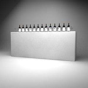 3d model white display bar