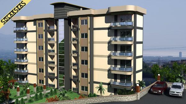 3d model modern apartment building exterior