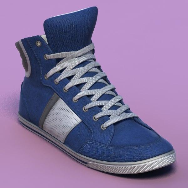 3d sports shoes 06 blue model