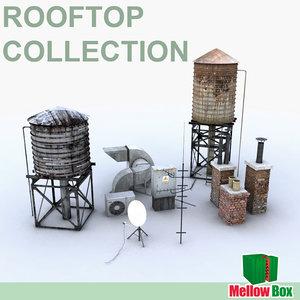 3d model rooftop watertanks chimneys