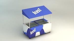3d mobile drinks cart ice cream