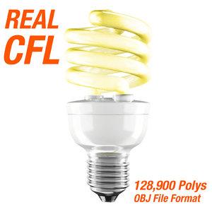 3d model compact fluorescent light bulb