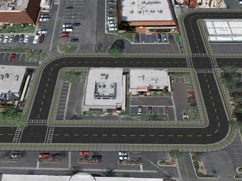 free obj model road street cities intersection