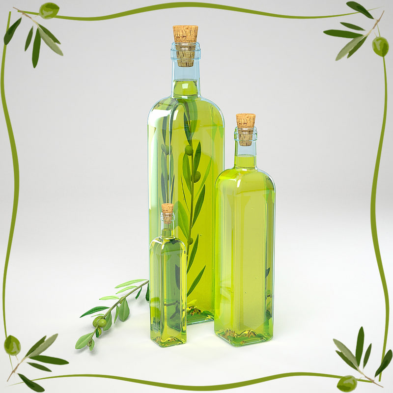 olive oil branch 3d model