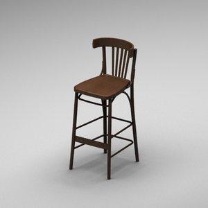 3ds max pub wood bar chair