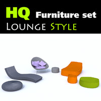 set 7 stylish lounge furniture 3d model