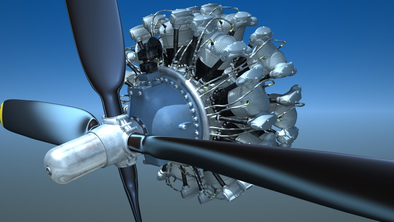 r 2800 engine wwii aircraft 3d lwo