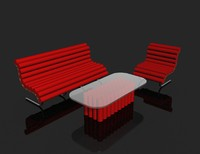 3d retro living room lounge furniture