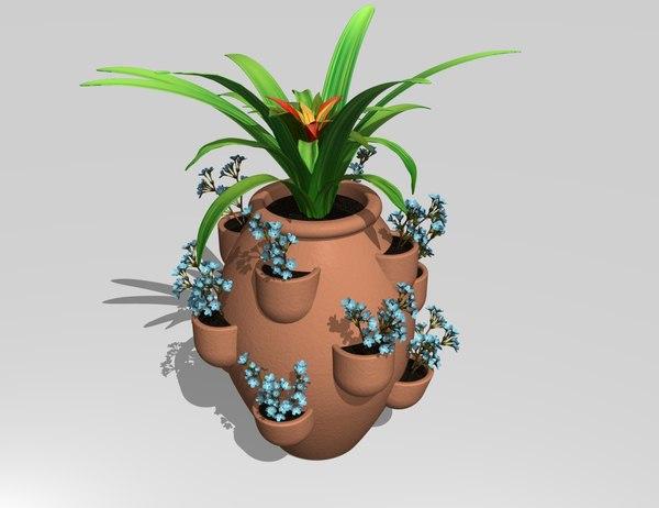 3d model of strawberry pot planter plants flowers