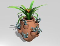 3d model of strawberry pot planter plants flowers