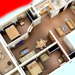 3d model flat