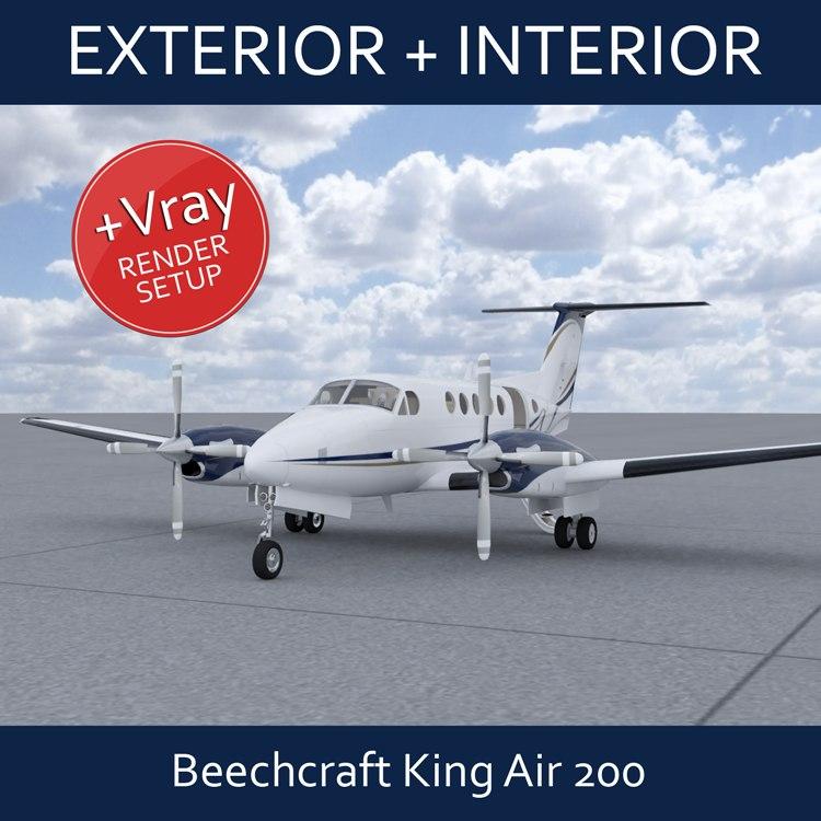 beechcraft king air b200 3d model