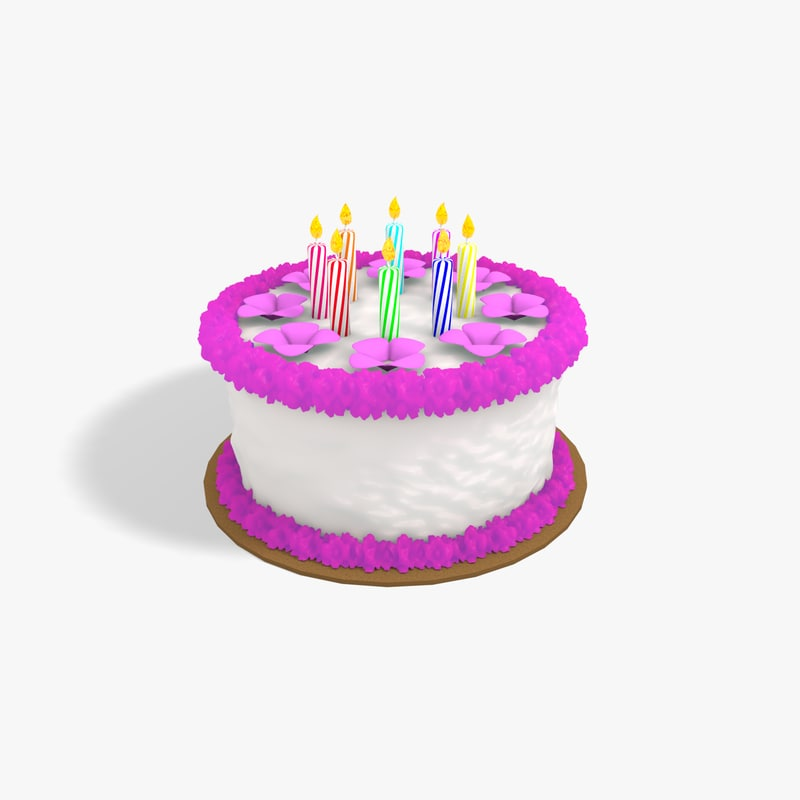 free birthday cake 3d model