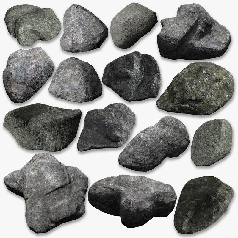 generic rocks pack 3d obj