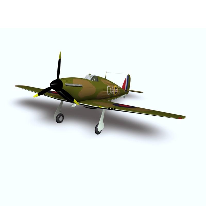3d battle hurricane hawker landing model