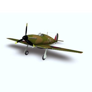 3d battle hurricane hawker landing model