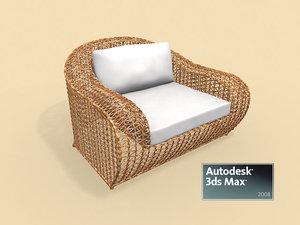 rattan easy armchair 3d model