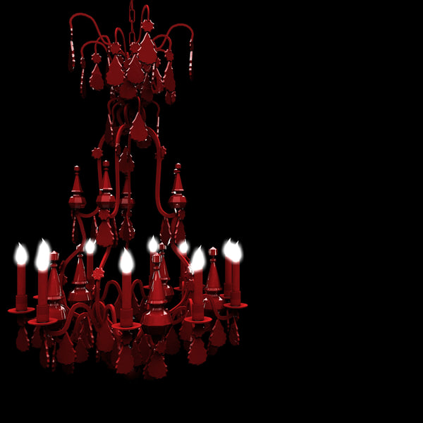 3d model modern red chandelier lights
