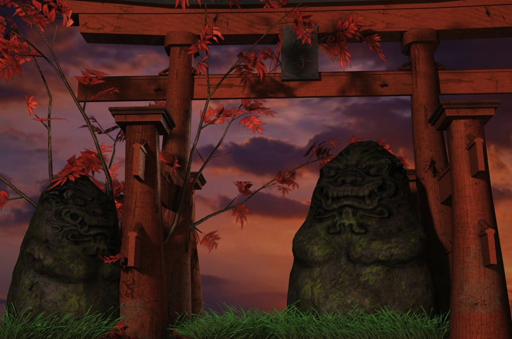3d obj japanese shrine