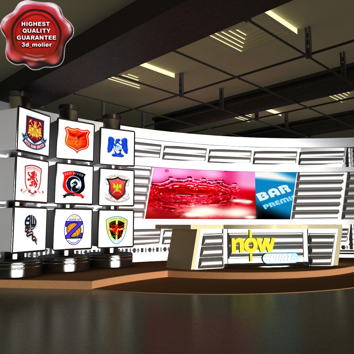 3d sport news tv studio model