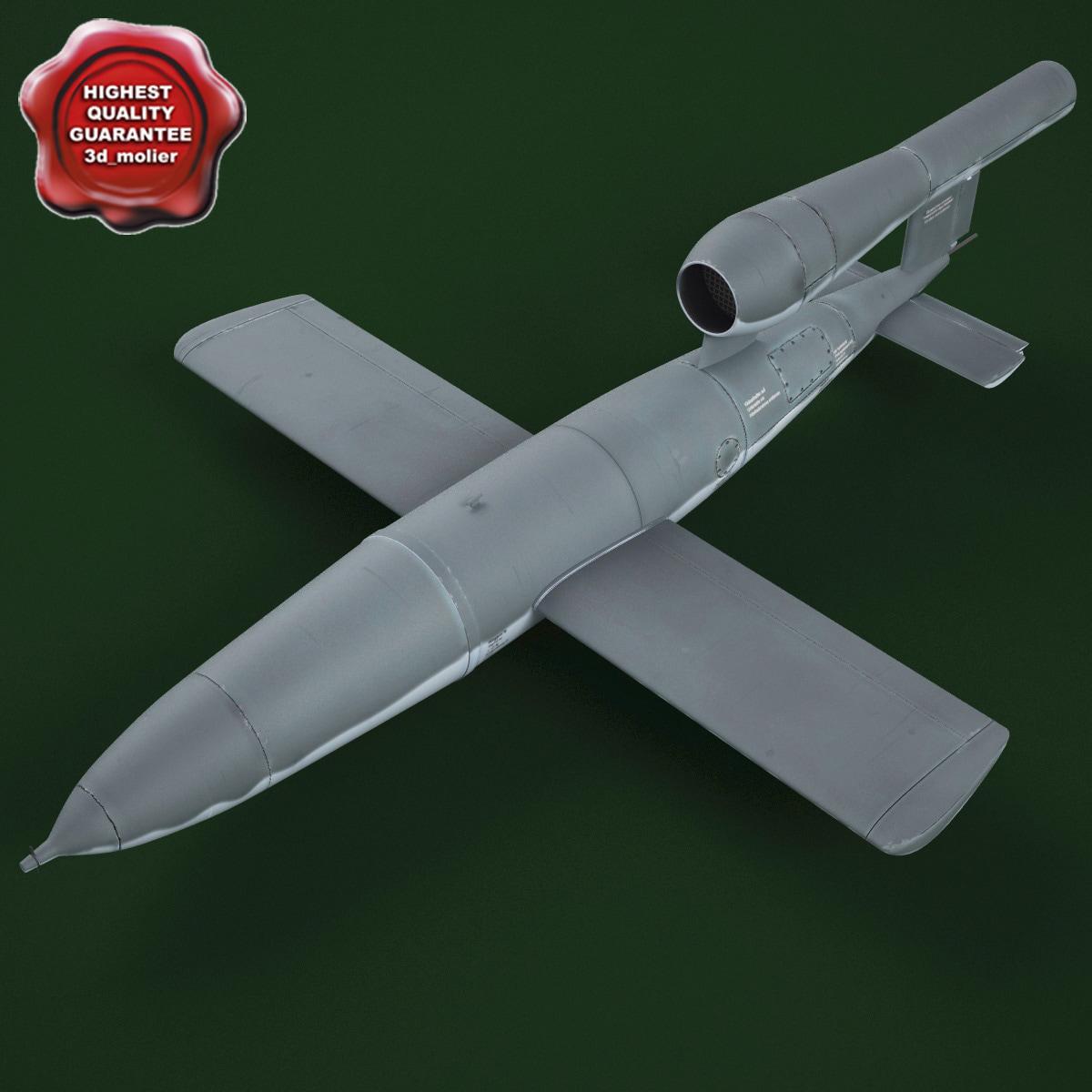 wwii german v1 flying 3d c4d