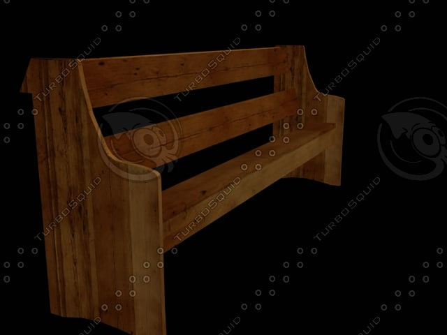 3d model church bench