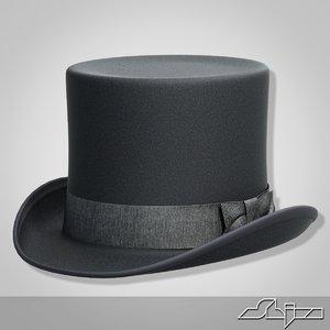 black cylinder hat 3d model