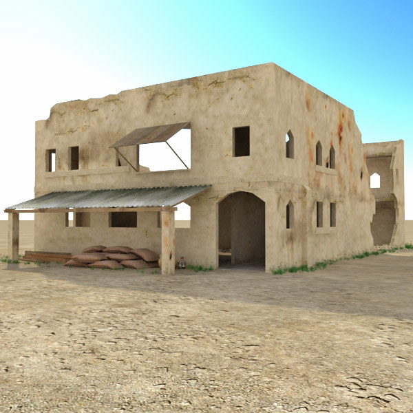 Ruined arab building houses 3d 3ds for House models for construction