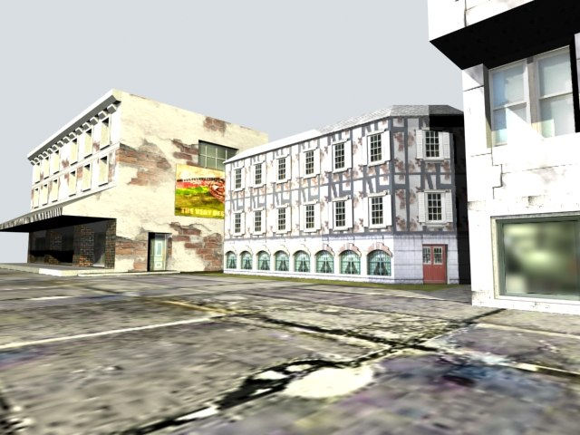 3d meshes buildings modeled