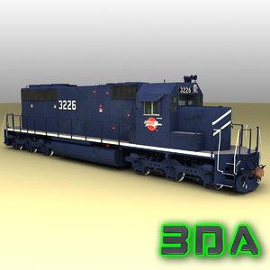 emd sd40-2 engines mp 3d model