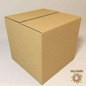 photorealistic cardboard box resolution 3d model