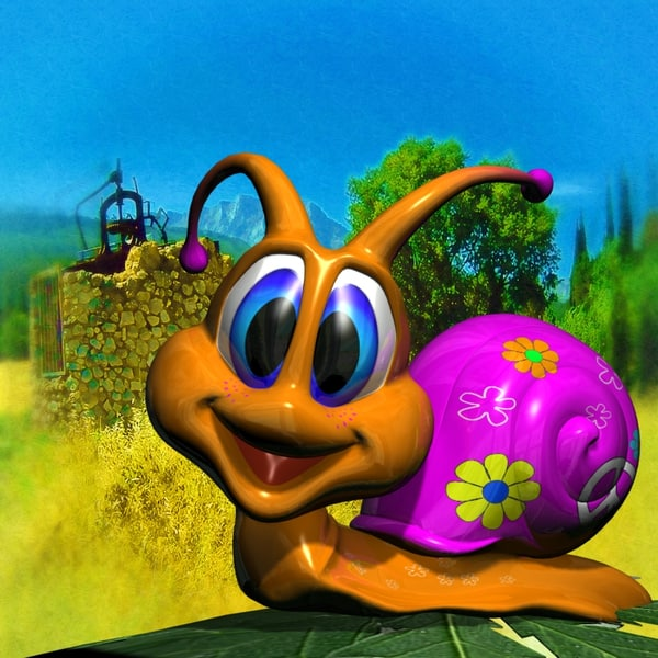 cute snail rigged 3d model
