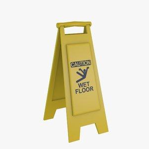 wet floor sign 3d 3ds