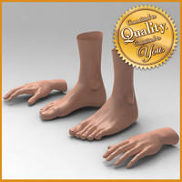 3d model female feet hand combo