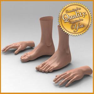 3d model female feet hand combo