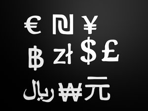 3d model currency signs