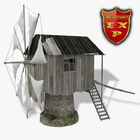 windmill old 3d model